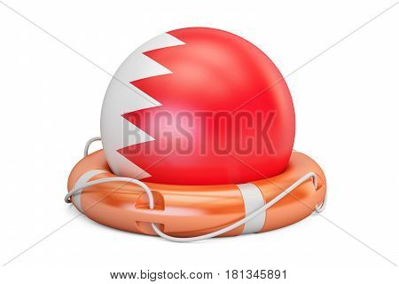 Lifebelt with Bahrain flag safe help and protect concept. 3D rendering