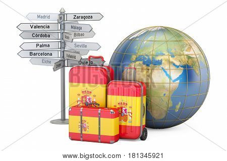 Spain travel concept. Suitcases with Spanish flag signpost and Earth globe. 3D rendering