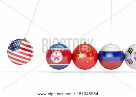 USA political conflict with North Korea South Korea Russia and China concept. 3D rendering