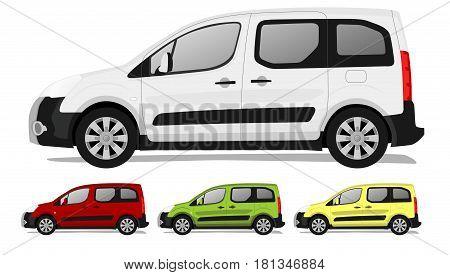 Cartoon minivan with big wheels, three different colors