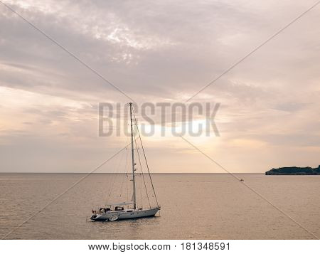 Yacht in the Adriatic sea in Montenegro, in the Balkans