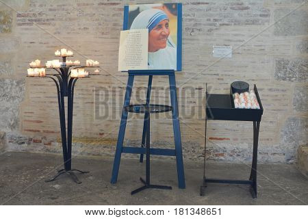 TOULOUSE FRANCE - JULY 23 2016:Catholic Church with a portrait of Mother Teresa in Toulouse France.