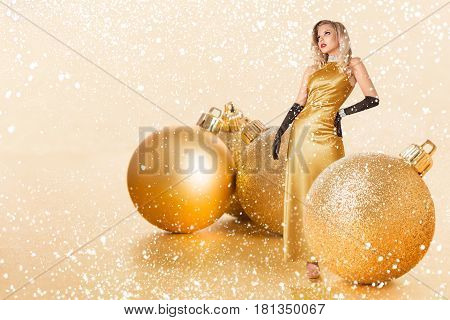 Young Woman In Golden Dress
