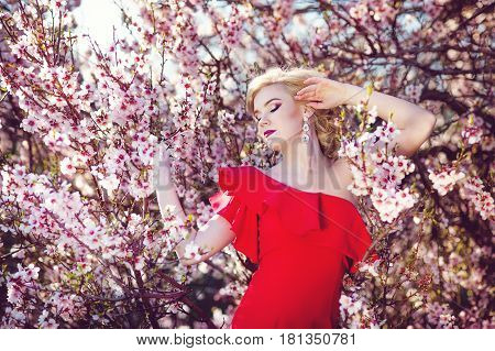 Beautiful young woman in blossom garden. Sakura and spring.