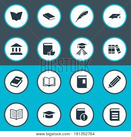 Vector Illustration Set Of Simple Reading Icons. Elements Notebook, Academic Cap, Academic Cap And Other Synonyms Literature, Cap And Hat.