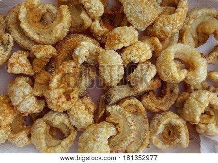 A portion of well crispy fried pork skin