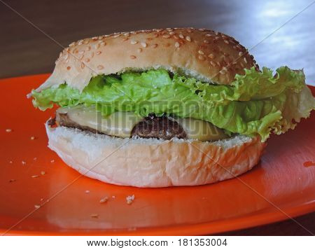 A single hamburger with cheese and lettuce