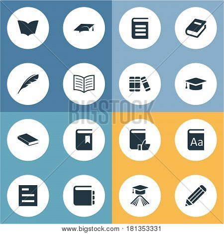 Vector Illustration Set Of Simple Reading Icons. Elements Recommended Reading, Journal, Book Page And Other Synonyms Favored, Writing And Notepad.