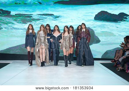 ZAGREB, CROATIA - APRIL 1, 2017: Fashion models wearing clothes designed by Ines Atelier from the spring/summer collection at the 'Fashion.hr' fashion show
