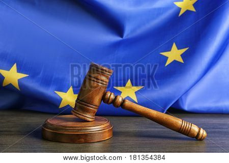 Judge gavel on European Union flag background