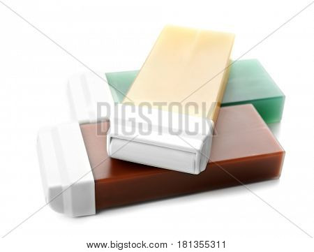 Liposoluble wax cartridges on white background