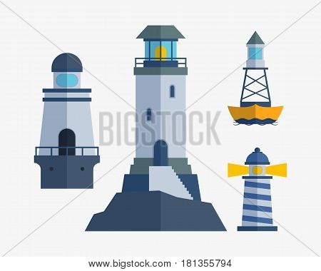 Cartoon flat lighthouse searchlight tower for maritime navigation guidance and ocean beacon light travel water sailing signal symbol vector illustration. Nautical building direction element with lamp.