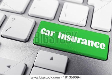 CAR INSURANCE button on keyboard, closeup
