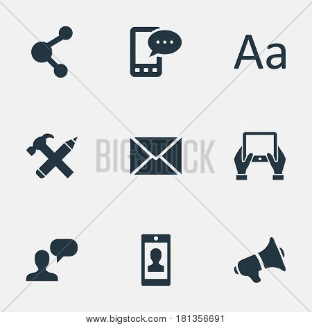 Vector Illustration Set Of Simple Newspaper Icons. Elements Repair, E-Letter, Loudspeaker And Other Synonyms Cedilla, E-Letter And Relation.