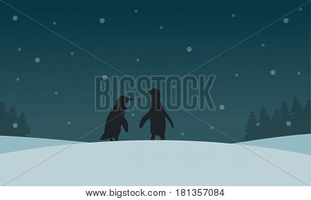Silhouette of penguin with snow scenery vector illustration
