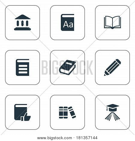 Vector Illustration Set Of Simple Reading Icons. Elements Pen, Graduation Hat, Bookshelf And Other Synonyms Alphabet, Dictionary And Bookshelf.