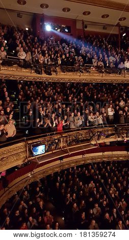 theater audience standing ovation at end of Hamilton Broadway in Chicago performance December 3rd, 2016