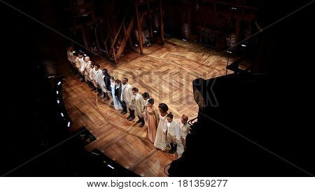 Hamilton Theater Performance Broadway in Chicago Cast Bowing at the end of the show December 3rd, 2016