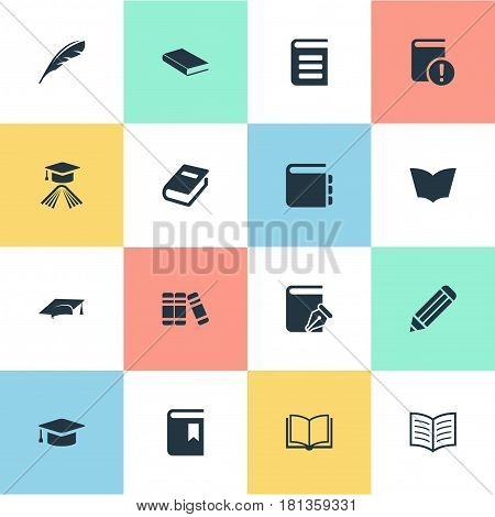 Vector Illustration Set Of Simple Education Icons. Elements Encyclopedia, Book Page, Plume And Other Synonyms Important, Notebook And Bookshelf.