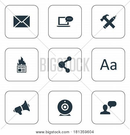 Vector Illustration Set Of Simple Blogging Icons. Elements Repair, Gazette, Laptop And Other Synonyms Broadcast, Considering And Epistle.
