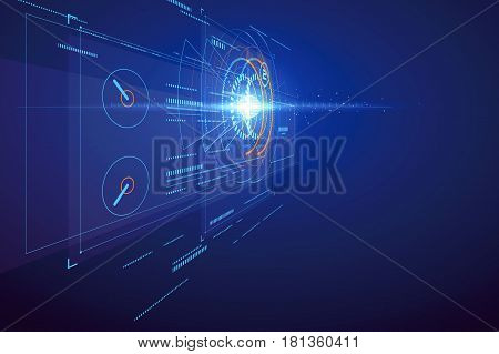 Three-dimensional interface technology science fiction scene,Vector graphic design.