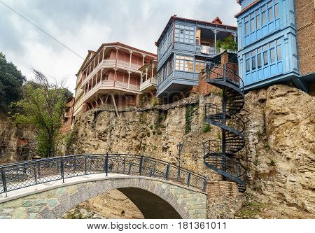 Bridge And Houses In Abanotubani District In The Old Town Of Tbilisi. Georgia