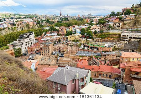 View Of Abanotubani District In The Old Town Of Tbilisi. Georgia