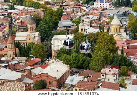 View On сar Of Cableway Under Roofs Of Old City Tbilisi, Georgia