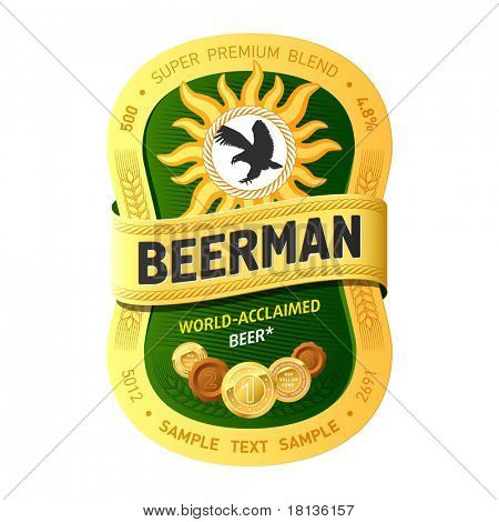 Beer label design. Vector. Add your information.