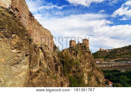 Ruins Of Narikala Fortress In Tbilisi, Georgia