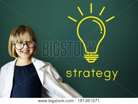 Strategy word light bulb icon graphic