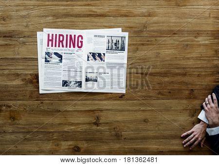 Career Hiring Job Announcement on Newspaper