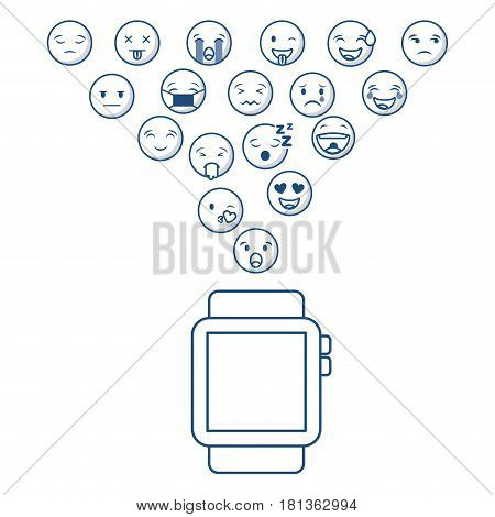 smartwatch with cartoon faces around over white background. vector illustration