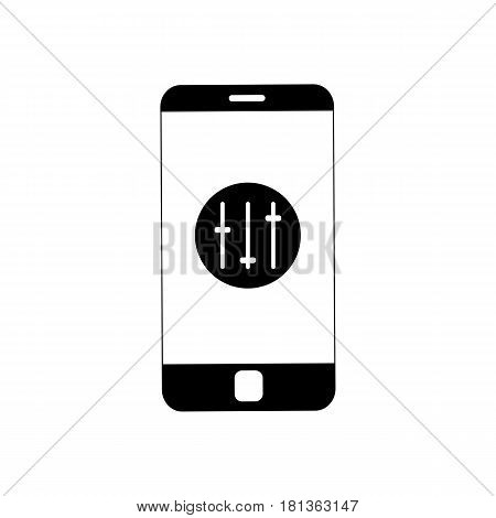 Smartphone with vertical sliders icon. Vector image of settings