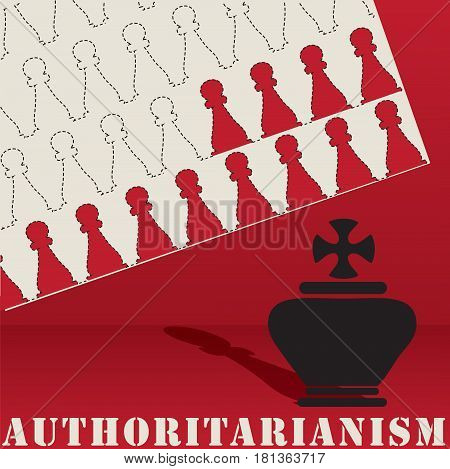 Post authoritarianism abstract chess figures authoritarian leadership in society.