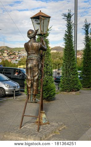 Statue Of Lamplighter In Tbilisi, Georgia