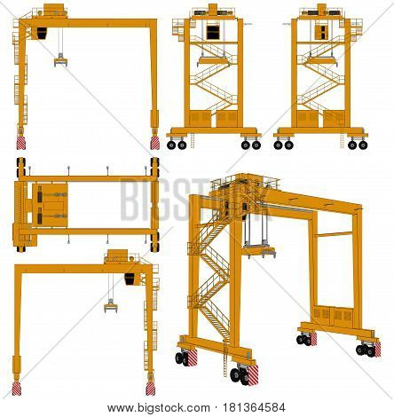 Overhead Construction Industrial High Crane Illustration Vector