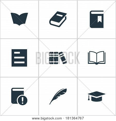 Vector Illustration Set Of Simple Reading Icons. Elements Tasklist, Reading, Plume And Other Synonyms Academic, Important And Blank.