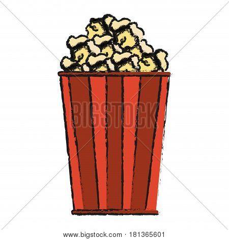 pop corn bucket icon over white background. vector illustration