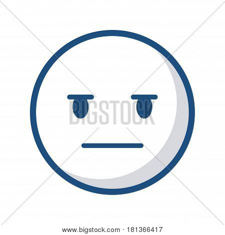 Expressionless cartoon face icon over white background. vector illustration