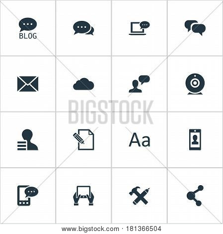 Vector Illustration Set Of Simple Newspaper Icons. Elements Notepad, Argument, Laptop And Other Synonyms Discussion, Coming And Overcast.
