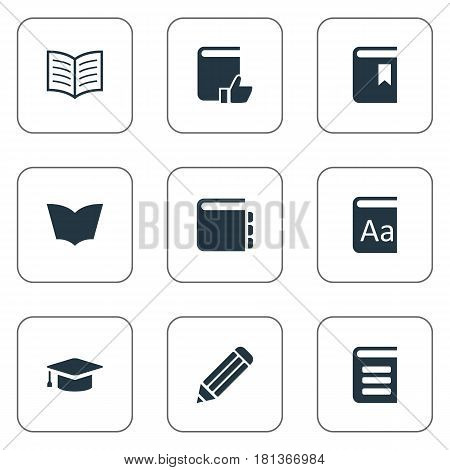 Vector Illustration Set Of Simple Education Icons. Elements Reading, Recommended Reading, Pen And Other Synonyms Hat, Writing And Academic.