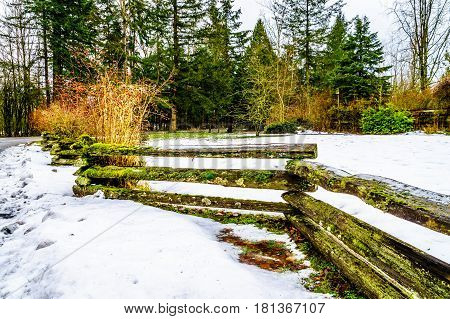 Split Rail fence in Campbell Valley Park in the township on Langley in British Columbia, Canada on a nice winter day