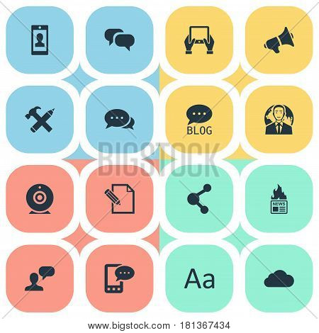 Vector Illustration Set Of Simple Newspaper Icons. Elements Gossip, Document, Site And Other Synonyms Negotiation, E-Letter And Repair.