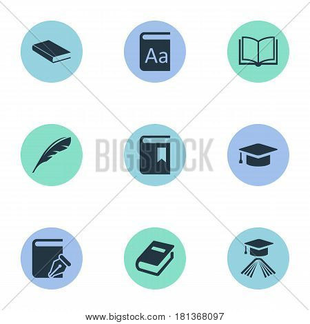 Vector Illustration Set Of Simple Reading Icons. Elements Blank Notebook, Alphabet, Plume And Other Synonyms Notebook, Bookmark And Blank.