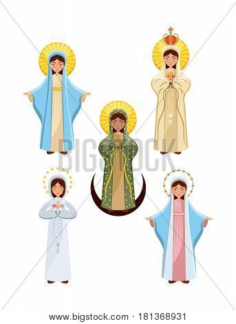 virgin mary icon set over white background. colorful design. vector illustration