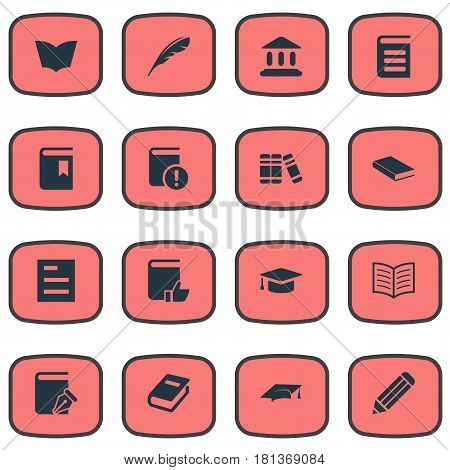Vector Illustration Set Of Simple Education Icons. Elements Bookshelf, Plume, Pen And Other Synonyms Academy, Journal And Page.