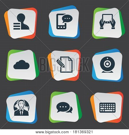 Vector Illustration Set Of Simple User Icons. Elements International Businessman, Argument, Overcast And Other Synonyms Contract, Argument And Hand.