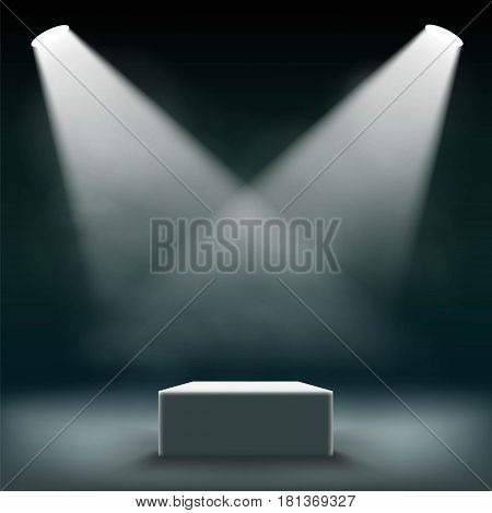 Podium for the exhibition and awards ceremony is illuminated by searchlights. Stock vector illustration.