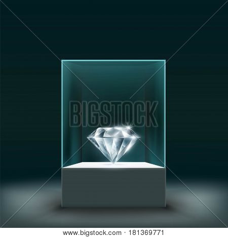 Jewel diamond in a glass cube. Stock vector illustration.